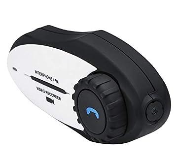 Exing Casco Moto Auricular Bluetooth con Micrófono Cámara De Vídeo Ininterrumpida Cámara De Video Auricular Bluetooth