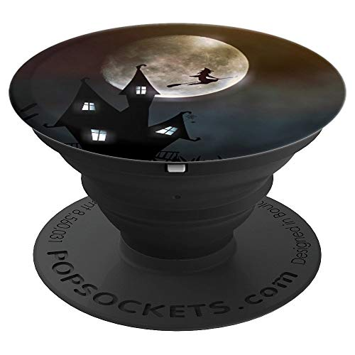 Witch Riding A Broomstick - Halloween Themed Design - PopSockets Grip and Stand for Phones and Tablets]()