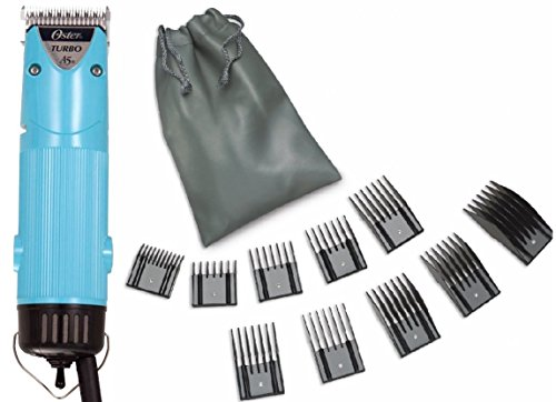 Oster Aqua Allure Color Blue Turbo A5 2-Speed Animal Dog Hair Pro Professional Clipper + 10 Piece Universal Comb Set. by Oster