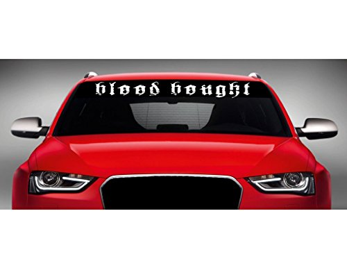 "Noizy Graphics 40"" x 4"" Blood Bought Christian Car Windshield Sticker Truck Window Vinyl Decal Color: Yellow"