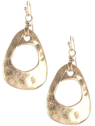 Gold cutout hammered metal pear shape convex earring Fashion Jewelry FancyCharm