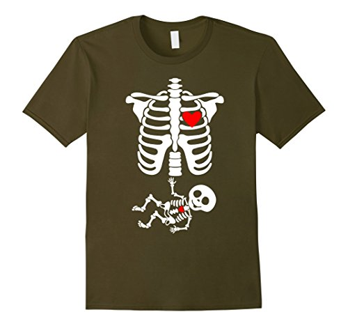 Infant Green Olive Costume (Mens Skeleton Pregnant Baby - Halloween Costumes for Adults Small Olive)