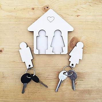 Laserò Schlüsselring Schlüsselanhänger Mit Wandhalterung Schlüsselhalter Aus Holz Für Haus Und Büro Das Perfekte Wohnaccessoire Ideal Als