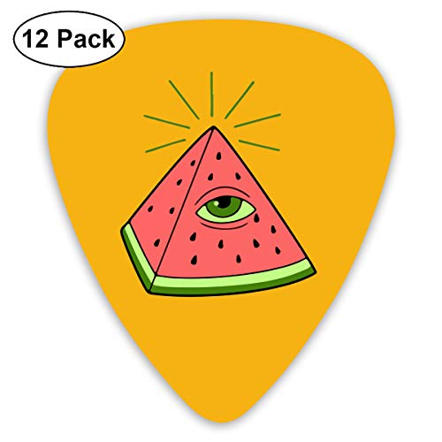 Unique Designs Guitar Picks - Watermelon Pyraminds Egypt Guitar Picks -Premium Music Gifts & Guitar Accessories For -12 Pack ()