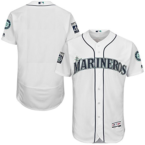 Seattle Mariners Blank White 40th Anniversary Youth Cool Base Home Jersey (X-Large 18/20)