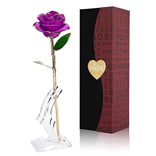 Smartcoco 24K Gold Plated Rose for Her, Artificial Flower with Stand and Gift Box, Long Stem Rose Gift for Mother's Day, Birthday, Wedding Ceremony, Valentine's Day, Home Decoration