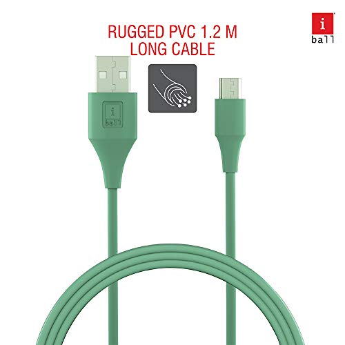 iBall IB-Micro 1.2M USB Charge & Data Sync Cable with up to 3.0A Fast Charging (Aqua Blue)
