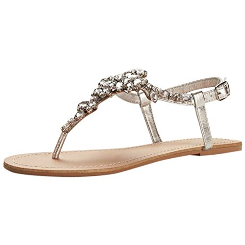 Bridal Shoes Jeweled (David's Bridal Jeweled T Strap Sandal Style Gemma, Silver Metallic, 9)