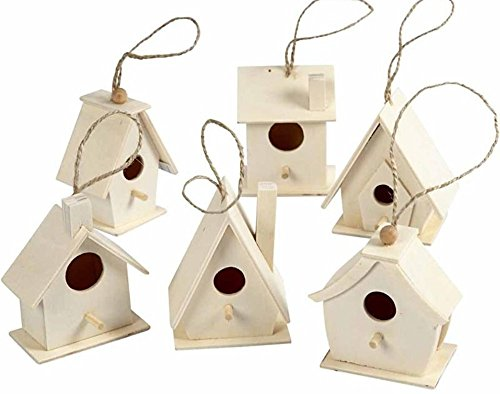 (6 Wood Mini Birdhouses to Decorate for Bird Box Crafts)