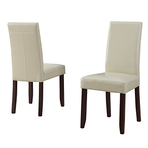 Simpli Home Acadian Parson Dining Chair, Satin Cream (Set of 2) (Cream Leather Dining Chairs And Table)