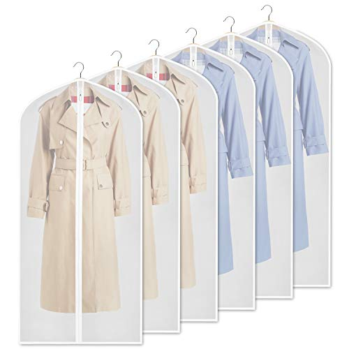 Zilink Garment Bag Dress Bags for Storage Dust Proof Suit Cover Bag for Suit, Coats, Jackets, Dress Closet Storage, Set of 6 (Closet Bag Garment)