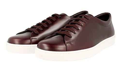 Prada Heren 4e2996 B4l F0397 Geborstelde Spazzolato Lederen Sneaker