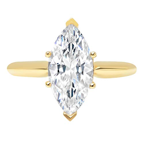 2.4ct Brilliant Marquise Cut Solitaire Highest Quality Lab Created White Sapphire Ideal VVS1 D 6-Prong Engagement Wedding Bridal Promise Anniversary Ring Solid Real 14k Yellow Gold for Women, SZ 9