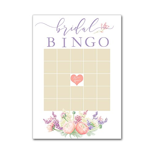 Bingo Game Cards for Bridal Wedding Showers with Watercolor Spring Bouquet Flowers Lilacs BBG8026 by Heads Up Girls