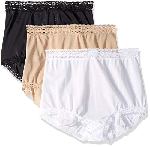Olga Women's Secret Hugs 3 Pack Brief Panty, Black/French Toast/White, XL