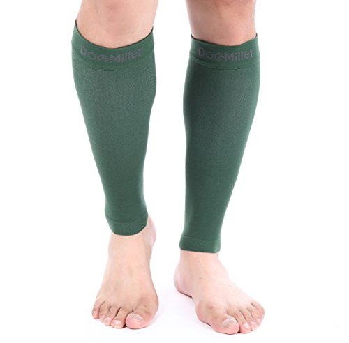 Miller Green - Doc Miller Premium Calf Compression Sleeve 1 Pair 20-30mmHg Strong Calf Support Graduated Pressure for Sports Running Muscle Recovery Shin Splints Varicose Veins (Dark Green, 2-Pack, XX-Large)