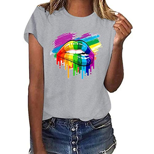 WOCACHI Womens Blouses Plus Size Sexy Lips Gesture Print Multicolor Graffiti Short Sleeve T-Shirt Tops 2019 Summer New Deals Sales Under 10 Dollars Ladies Loose Flowy Tunic Cute Round Neck Tee