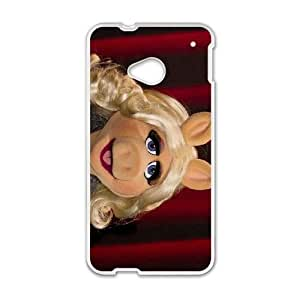 Popular And Durable Designed TPU Case with The Muppets Miss Piggy HTC One M7 Cell Phone Case White