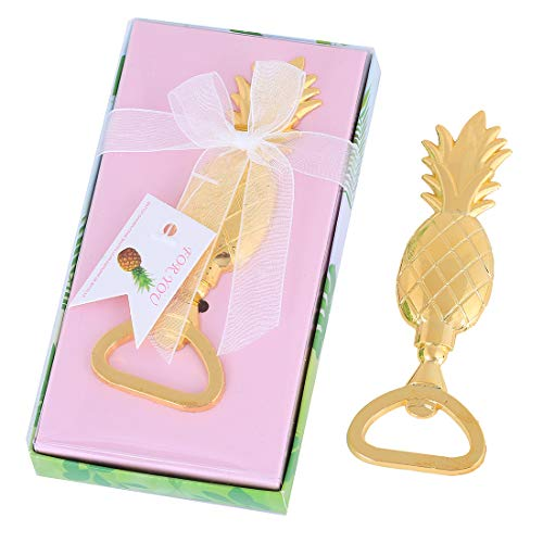 (PARTYGOGO Pack of 24 Gold Pineapple Beer Bottle Opener for Baby Shower Bridal Shower Favors Wedding Favors Birthday Party Decoration Supplies Party Table Decor with Gift Box(Gold Pineapple, 24))