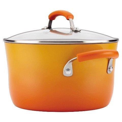 Orange Rachael Ray Covered Pot - Rachael Ray 16084 Hard Enamel Covered Stockpot, 6 Quart, Orange Gradient