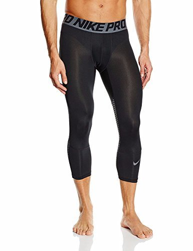 NIKE Men's Pro 3 Quarter Tights (X-Large, Midnight Black Heather/Grey/Black) by NIKE