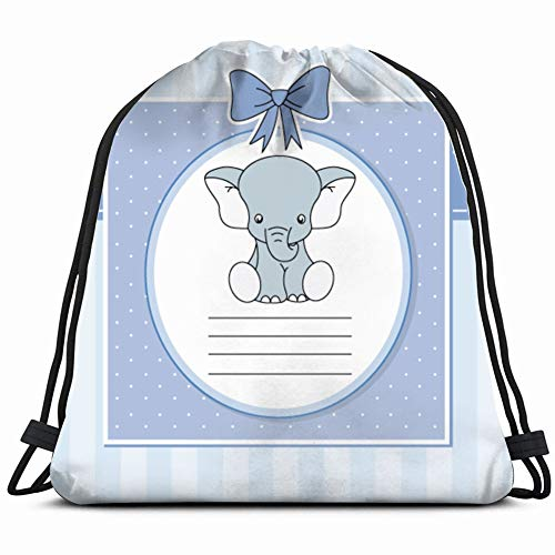 baby boy arrival announcement card elephant animals wildlife Gym Sack Bag Drawstring Sport Beach Travel Outdoor Backpack for Women 17X14 Inch ()
