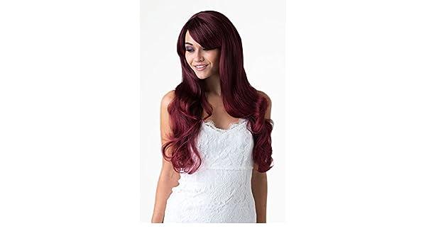 Annabelle de las pelucas Extra larga de negro y rojo cuidado de la peluca y parte trasera negra mechas oscuras, A lo grande un número muy de expansión ...