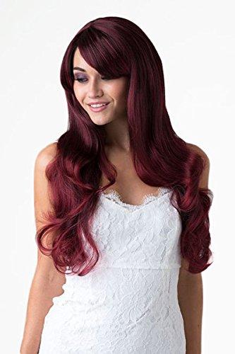 Annabelle de las pelucas Extra larga de negro y rojo cuidado de la peluca y parte
