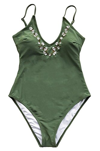 Dreams Embroidery - CUPSHE Fashion Dreams Link Embroidery One-Piece Swimsuit Beach Swimwear Bathing Suit (M)