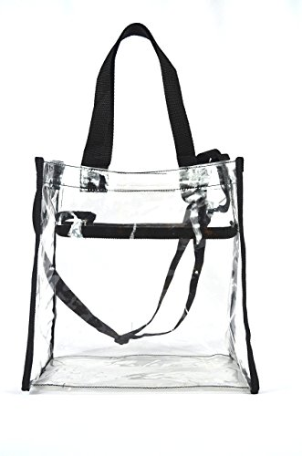 Urban Merchandise Clear Tote Stadium Bag 12 x 12 x 6 with Zipper and Shoulder Strap
