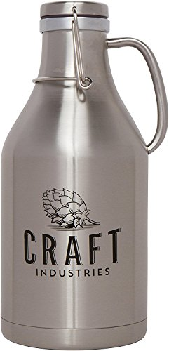 Stainless Steel Insulated Water Bottle Beer Growler – Huge 64oz Capacity – Wide Mouth – Double Wall Design – Keep Hot Drinks Hot, Cold Drinks Cold for 24 Hours – Drink for a Charitable Cause by Craft Industries