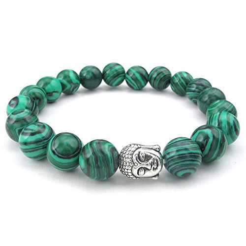 Buddha Bead Gem Bracelet (KONOV Natural Energy Stone Beads Gemstone Malachite Mens Womens Bracelet, 10mm Buddha Mala, Green)