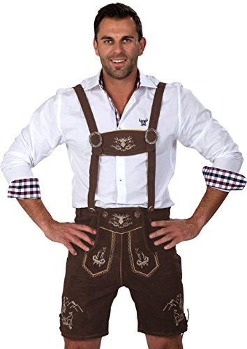 Almwerk Herren Trachten Lederhose kurz Platzhirsch, Farbe:Braun;Lederhose Größe Herren:50