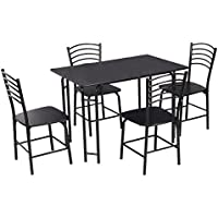 Giantex 5 PCS Black Dining Set Table 4 Chairs Steel Frame Home Kitchen Furniture