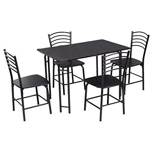 Giantex 5 PCS Black Dining Set Table 4 Chairs Steel Frame Home Kitchen Furniture by Giantex