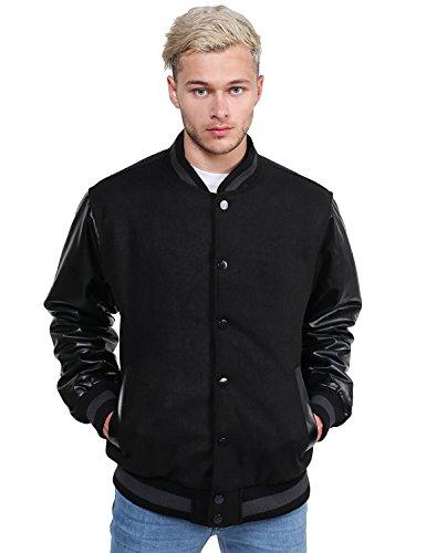 Youstar Heavyweight Pleather Wool Blend Bomber Jacket With Stripe Black Size XL -