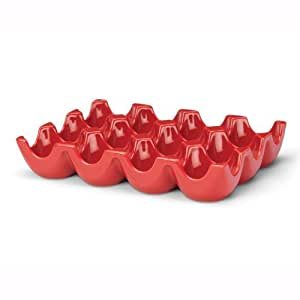 Rachael Ray Stoneware 12-Cup Sittin' Pretty Egg Tray, Red