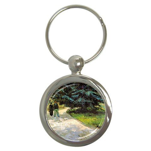 - Public Garden With Couple And Blue Fir Tree The Poet S Garden Iii By Vincent Van Gogh Round Key Chain