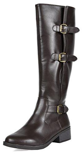 w Riding Wide High marran Fashion TOETOS Calf Women's Boots Knee Brown vTqfIwBnRx