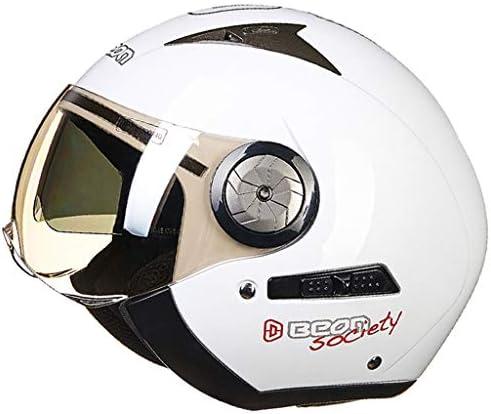 ZJJ ヘルメット- オフロードバイク二重カバーヘルメット、雨および紫外線保護ヘルメット、二層レンズ (色 : White B, サイズ さいず : XL)