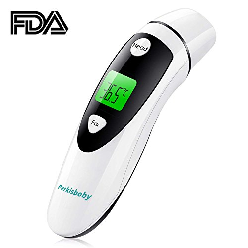 Perkisboby Digital Infrared Forehead and Ear Thermometer for Baby, Kids, Children and Adults with Fever Indicator, FDA and CE Approved by Perkisboby