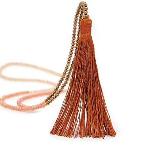 Werrox Elegant Women Crystal Beaded Necklace Long Tassel Pendant Sweater Chain Jewelry | Model NCKLCS - 21946 |