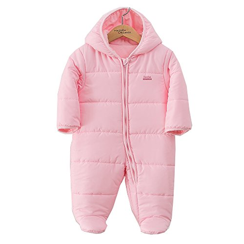 Padding Snowsuit Baby Boy and Girl Bunting Hooded 100% Certified Organic Cotton (12m, Pink) (Wool Bunting)