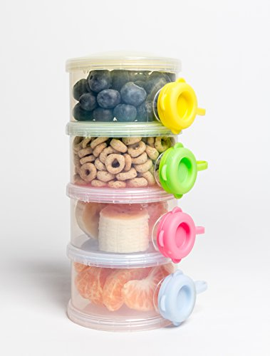 (OceanBaby 4 Twist Lock Stackable Container Non Spill Baby Formula Dispenser - 1 Pack Colors may vary)