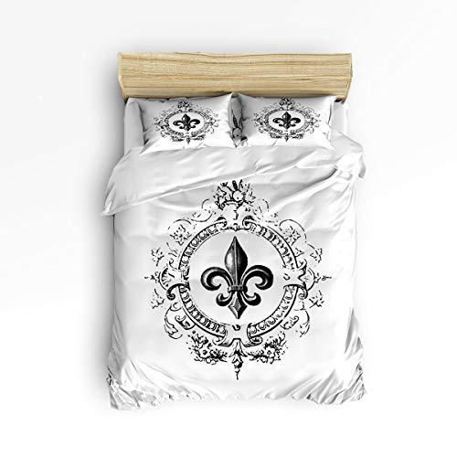 - Luxury 4 Piece Bedding Duvet Cover Sets All-Season Ultra Soft Microfiber Quilt Cover Bedspread and Pillow Shams for Adult/Kids/Teens, King Size - Vintage Royal Fleur De Lis Iris Flower