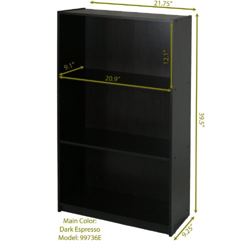 Furinno 99736EX Basic 3-Tier Bookcase Storage Shelves, Espresso by Furinno (Image #1)