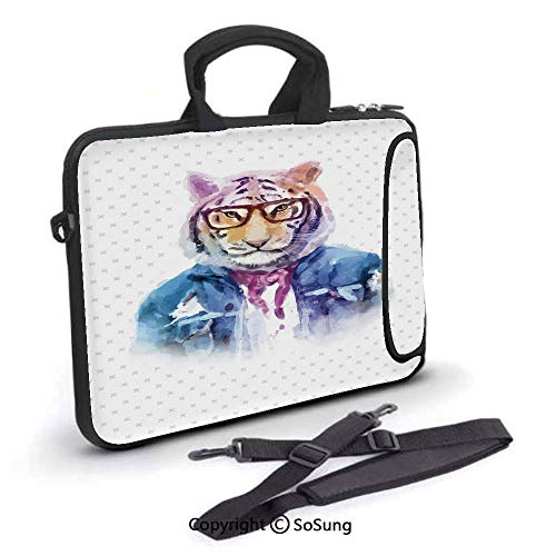 14 inch Laptop Case,Intellectual Tiger with Scarf Torn Denim Jacket and Glasses Watercolor Artwork Decorative Neoprene Laptop Shoulder Bag Sleeve Case with Handle and Carrying & External Side Pocket,f
