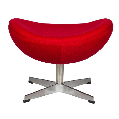 LeisureMod Arne Jacobsen Egg Ottoman in Red (Knoll Lounge)