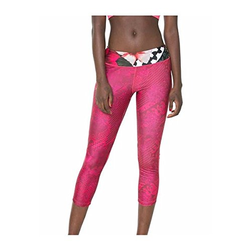 Desigual Women's Knitted Capri Leggings w/ Contemporary Text Print, Paradise Pink, Small