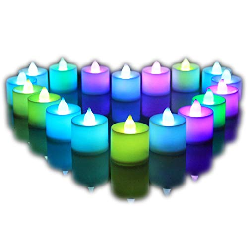 24Pcs Electric Color-changing LED Tealight Bright Mood Candle Realistic Battery Operated Tealight for Wedding Party Confession Festival Decoration Fake Candle (Multi-colored)]()